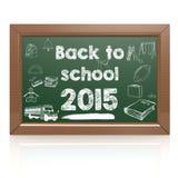 Back to school 2015 green blackboard Stock Photography