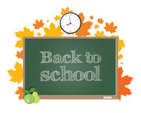 Back to school. Green board on a background of autumn maple leaves. Stock Images