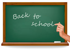 Back to school. Green board with hand. Royalty Free Stock Photos