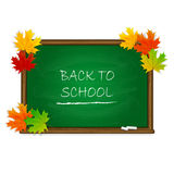 Back to School on green chalkboard with maple leaves Stock Images