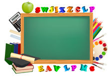 Back to school. Green desk with school supplies. Stock Photo