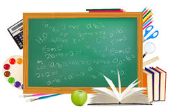 Back to school. Green desk with school supplies. Royalty Free Stock Photo