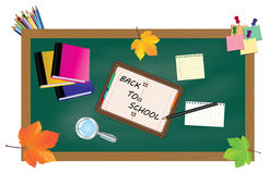 Back to school. Green desk with school supplies and autumn leaves. Stock Photography