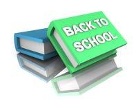 Back to school Green light-blue big books 3d Royalty Free Stock Photo