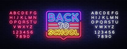 Back to School greeting card design template neon vector. Modern trend design, the beginning of school year neon sign vector illustration