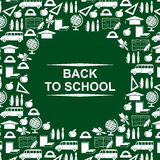 Back to school greeting card green round design Royalty Free Stock Photos