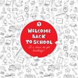 Back to school greeting card of kids doodles with bus, books, co Royalty Free Stock Photos