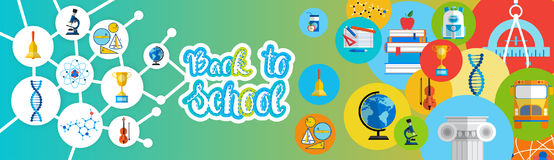 Back To School Greeting Colorful Banner With Studing Supplies Royalty Free Stock Photo