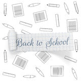 Back to School greeting paper Ribbon Stock Image