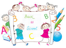 Back to School. Group of funny children. Image for design Stock Photos