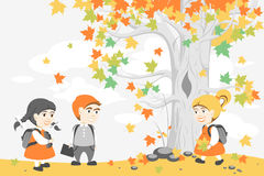 Back to school. Group of happy students walking after school in the Park. Illustration for design projects: websites, banners, posters Royalty Free Stock Image