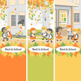 Back to school. Group of happy students walking in the school yard. Autumn day. Illustration for design projects: websites, banners, posters Stock Photos