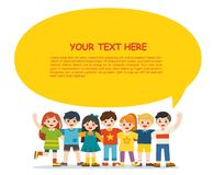 Back to School. Group of smiling boys and girls. Happy student standing together and waving hands. Isolated on white background. royalty free illustration