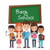 Back to school group student smiling with chalkboard Royalty Free Stock Image