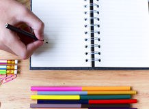 Back to school. Hand with Colorful Office and study art statione Stock Photo