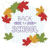 Back to school. Hand drawing lettering. Notebook in a cage and autumn maple leaves. Card. Vector. EPS 10 Royalty Free Stock Photography