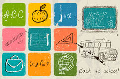 Back to school hand drawing poster. Royalty Free Stock Photos