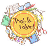 Back to School Hand Drawn Background. Education Concept with Books, Notebook and Paint Stock Photos
