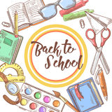 Back to School Hand Drawn Background. Educational Concept with Books, Notebook and Pen Stock Image