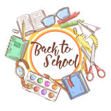 Back to School Hand Drawn Background. Educational Concept with Eyeglasses, Notebook and Paint Stock Photos