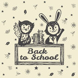 Back to school hand drawn card with Bunny and Owl Stock Photos