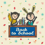 Back to school hand drawn card with Bunny and Owl Stock Images