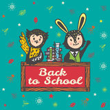 Back to school hand drawn card with Bunny and Owl Stock Photo