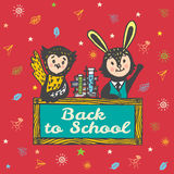 Back to school hand drawn card with Bunny and Owl Royalty Free Stock Photo