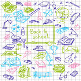 Back to school, hand drawn colored silhouettes on squared paper, sketch, doodle, Stock Images