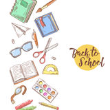Back to School Hand Drawn Design. Educational Concept with Books, Notebook and Pen Royalty Free Stock Photography