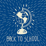 Back to school hand drawn doodle card with geography globe Stock Images