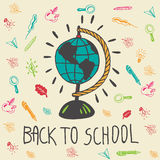 Back to school hand drawn doodle card with geography globe Stock Photography