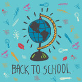 Back to school hand drawn doodle card with geography globe Royalty Free Stock Image