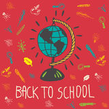 Back to school hand drawn doodle card with geography globe Stock Photo