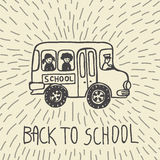 Back to school hand drawn doodle card with school bus and kids Stock Photography