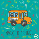 Back to school hand drawn doodle card with school bus and kids Royalty Free Stock Image