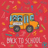 Back to school hand drawn doodle card with school bus and kids Royalty Free Stock Photography