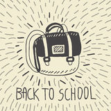 Back to school hand drawn doodle card with schoolbag Stock Photos