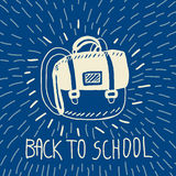 Back to school hand drawn doodle card with schoolbag Stock Photography