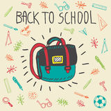 Back to school hand drawn doodle card with schoolbag Royalty Free Stock Photo
