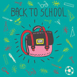 Back to school hand drawn doodle card with schoolbag Stock Images