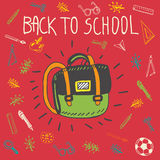 Back to school hand drawn doodle card with schoolbag Royalty Free Stock Image