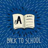 Back to school hand drawn doodle card with spell book Royalty Free Stock Images