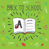 Back to school hand drawn doodle card with spell book Royalty Free Stock Photos