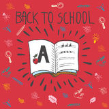 Back to school hand drawn doodle card with spell book Stock Photos