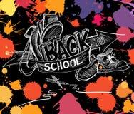 Back to school hand drawn doodle sketch vector illustration. olorful artistic splash blots. Stock Image