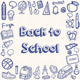 Back to school hand drawn doodles background. Education concept. Hand drawn school supplies. Vector Royalty Free Stock Photo