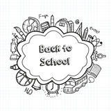 Back to school hand drawn doodles background. Education concept. Hand drawn school supplies. Vector Royalty Free Stock Images