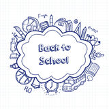 Back to school hand drawn doodles background. Education concept. Hand drawn school supplies. Vector Stock Photography