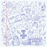 Back to school hand-drawn doodles set in notebook Royalty Free Stock Image